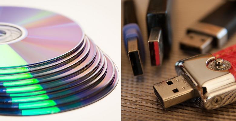 DVDディスクとUSBメモリー
